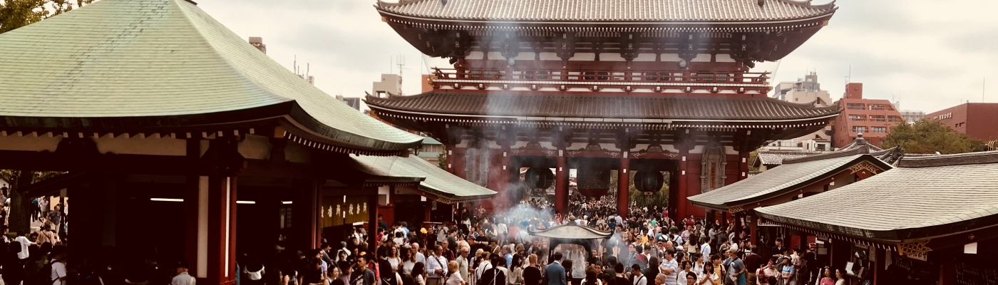 People go to Asakasa's Sensoji temple for praying