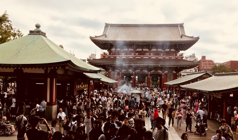 People go to Asakasa's Sensoji temple for praying